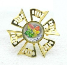 Vintage Canada Leaf Glass Souvenir Gold Tone Pin Brooch - $19.80