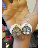 Silver life tree branches earrings charms white circle drop dangles hand... - $5.99