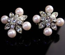 Vintage Statement jewelry - Monet Rhinestones earrings - silver wedding set - $85.00