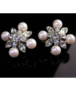 Vintage Statement jewelry - Monet Rhinestones earrings - silver wedding set - $85.00