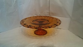 Indiana Colony Amber Open Lace Edge Footed Cake Plate Platter - $14.85