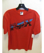MEN'S GUYS FOX RACING TEE T-SHIRT RED BLUE PRINT LOGO ON CHEST NEW $28 - $17.99