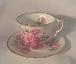 ADDERLEY TEA CUP & SAUCER  PINK FLOWER GOLD VINTAGE LAWLEY BONE CHINA EN... - $15.47