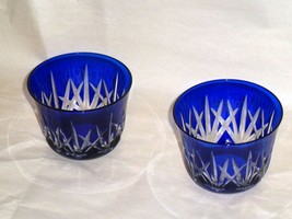 """Pair Of COBALT BLUE Cut to Clear Crystal Votive/Tealight Holders 2 1/2"""" - $39.59"""