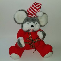 "VTG Fiesta 11"" Gray Christmas Mouse With Gift Box Plush Stuffed Animal T... - $29.65"