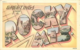 Linen Postcard Colorado H65 Greetings from Rocky Mts Big Letters Multiview - $7.00
