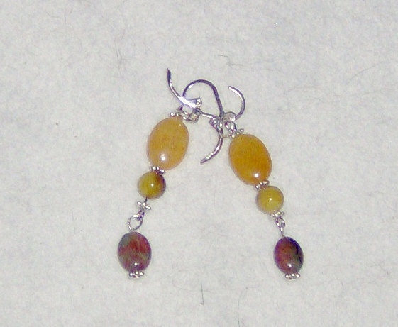 American Made!  Handcraft Silver Earrings with Yellow Jade, Green Agate & MOP