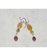 American Made!  Handcraft Silver Earrings with Yellow Jade, Green Agate ... - $22.95