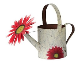 Attraction Design Antique Finish Spring Decorative Watering Can White Can - $17.23