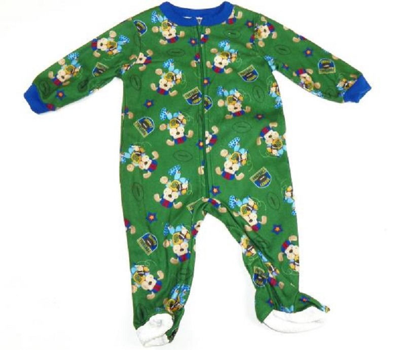 Infant Boy's Sleeper One-Piece Green Football League Puppy Too-Nite Pajamas