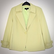 Talbots Womens Blazer 10 One Button Green Textured Lined Raglan Sleeve P... - $26.72