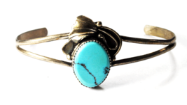 """Sterling Silver Split Cuff Oval Turquoise Poppy Bracelet 30mm 6"""" 7-3/4"""" ... - $39.59"""
