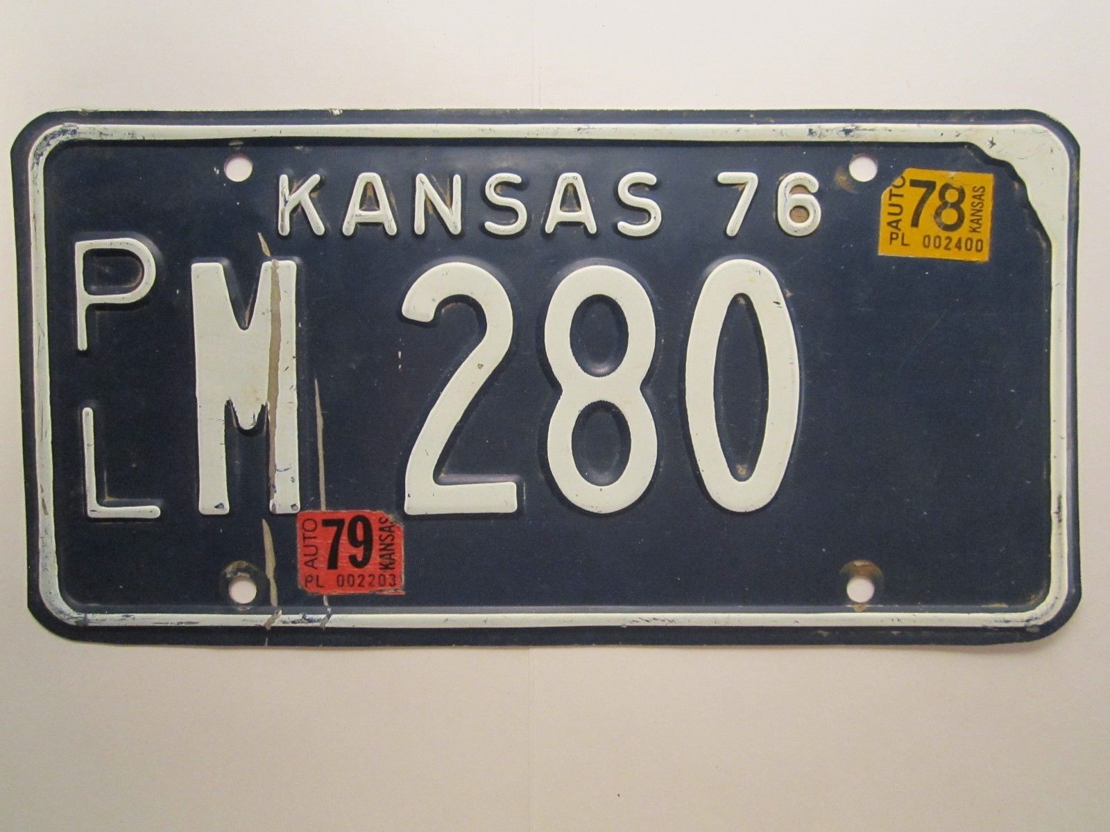 Primary image for LICENSE PLATE Car Tag 1976 KANSAS PL M 280 [Z274]