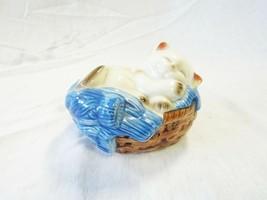 Avon 1983 Sleeping Cat Kitten in Basket Figurine Japan Pomander Potpourr... - $6.80