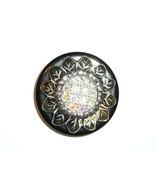 Silver Toned Large Sunflower Metal Button w/ Czech Crystal AB Rhinestone... - $17.49