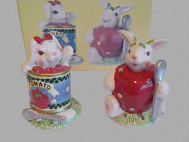 Large White Bunny Rabbits Tomato Can & Tomato Salt Pepper Shakers NIB. - $13.99