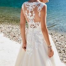 Lace Applique Sleeveless Illusion Vintage Beach Wedding image 4