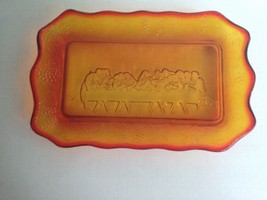 "Vintage Gold Glass Lord's Supper Flat Dish 11"" Long 6"" Wide 3/4"" Thick R... - $11.57"