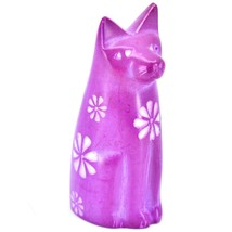 Tabaka Chigware Hand Carved Kisii Soapstone Fuchsia Sitting Kitty Cat Figure