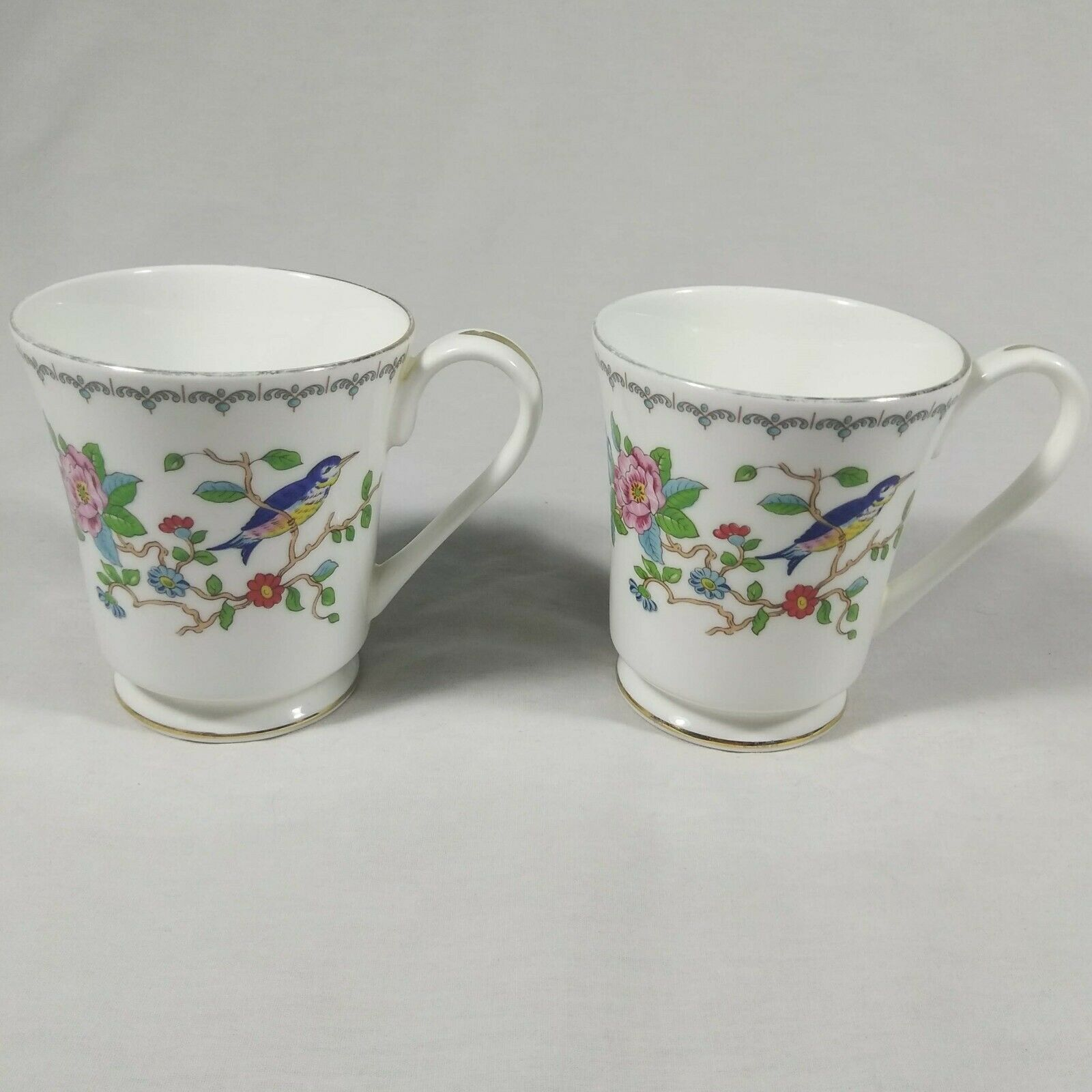 Aynsley Pembroke Tea Cups Fine English Bone China Birds Floral Set of 2 Mugs