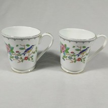 Aynsley Pembroke Tea Cups Fine English Bone China Birds Floral Set of 2 Mugs image 1