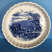 "Vintage Blue & White Blue Willow Style 9.25"" Pie Quiche Tart Plate (UNMA... - $24.74"