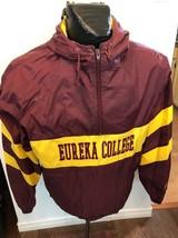 MENS LARGE Nylon Pullover Jacket EUREKA COLLEGE RED DEVIL TRACK & FIELD ... - $28.18