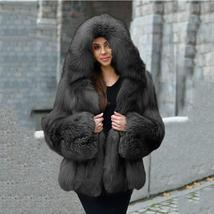 Women's Top Winter Fashion Elegant Thick Warm Natural Color Faux Fur Overcoat image 2