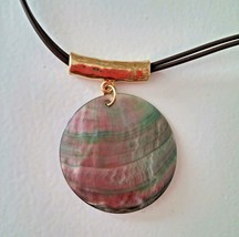 "Cookie Lee Necklace Genuine Shell Pendant Iridescent 18"" Double Cord  - $8.91"