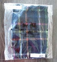 COACH 83100 Women's black 100% Cashmere Plaid Tattersall Scarf Fringe - $38.60