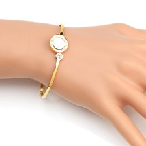 UE-Designer Bangle Bracelet With Faux Mother of Pearl & Swarovski Style Crystal  - $18.99