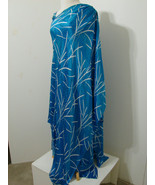 Vintage MADE IN SWITZERLAND Gown Blue Asy Abstract Print Textured Silk 2pc - £273.67 GBP