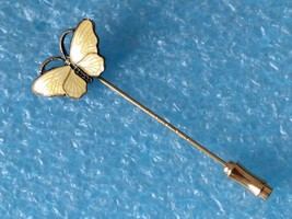 RARE VINTAGE STERLING SILVER NORWAY ENAMEL BUTTERFLY HATPIN HAT TIE PIN ... - $45.53