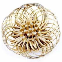 Vintage Florenza Goldtone Wire Floral Brooch 1960'S - $41.00