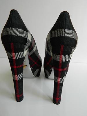 Prada Platform Pumps Tartan Black Gray Red Plaid High Heel $750 NIB 39.5