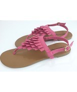 American Eagle Womens Size 10 Pink Pleated Layer Ankle Wrap Flat Sandals... - $30.64 CAD