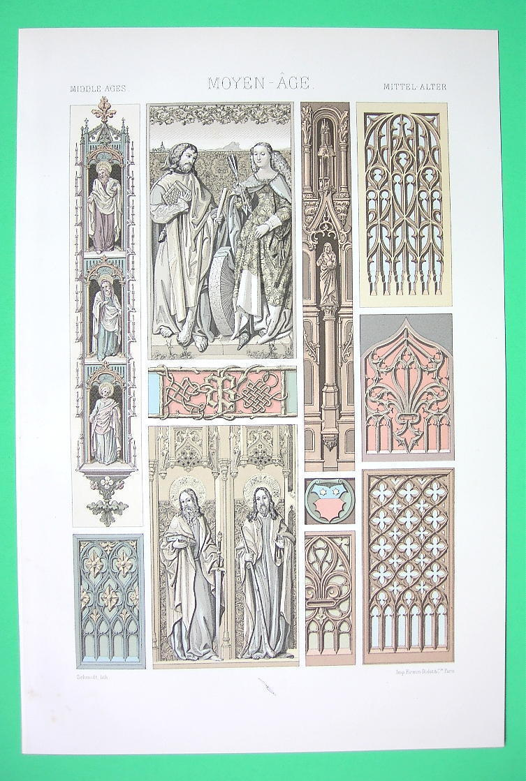ARCHITECTURE Ornamentation Middel Ages - COLOR Litho Print by Racinet