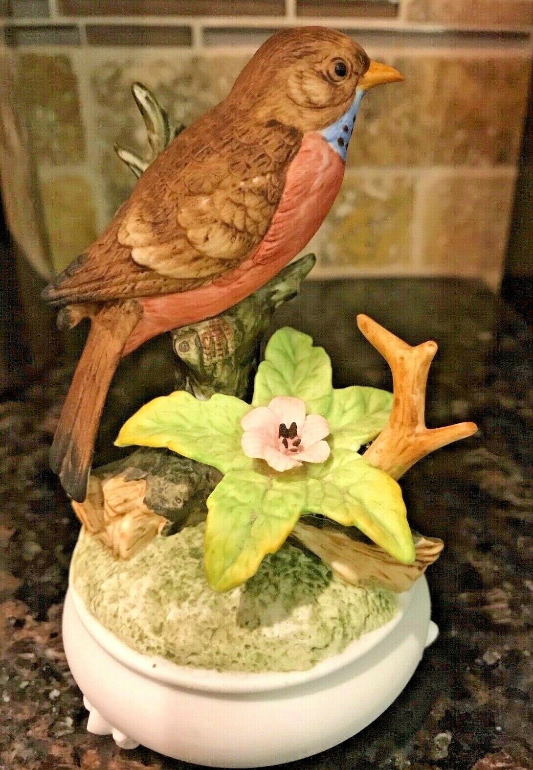 """BIRD With FLOWERS MUSIC BOX FIGURINE - 6"""" TALL with White Base"""