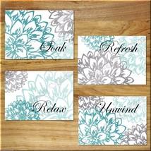 Teal Aqua/Turquoise Gray Wall Art Bathroom Bath Print Decor Peony Floral Flower - $13.99