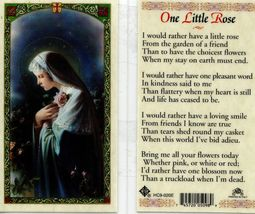 Mystical Rose Laminated Prayer Cards - Item EB677 - Rather Have One Little Rose  - $2.79