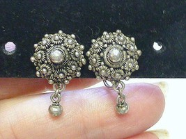 Vintage Dangling Ball Sterling Silver Multi Flower Earrings Israel Screw... - $18.99
