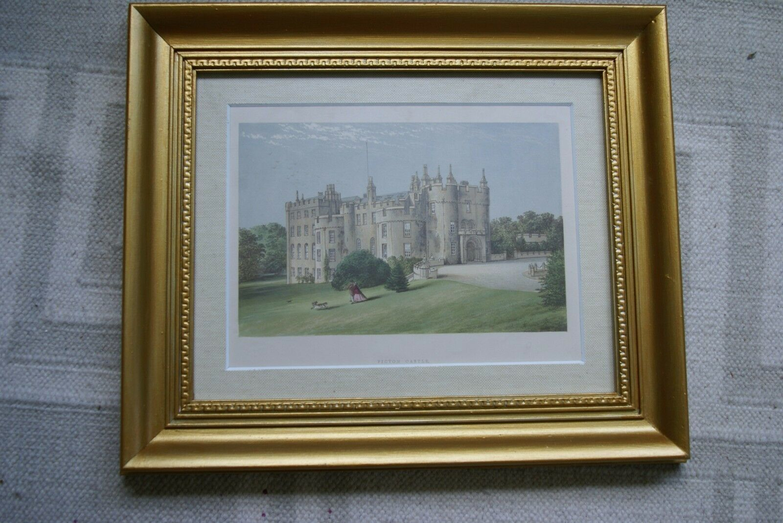ANTIQUE 1870 19C  FRAMED ARCHITECTURAL PICTON CASTLE LITHOGRAPH MORRIS ENGLAND