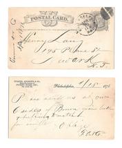 UX5 Phila PA 1876 Fancy Cork Cancel Turner Andrew Pocket Books Henry Lang Newark image 1