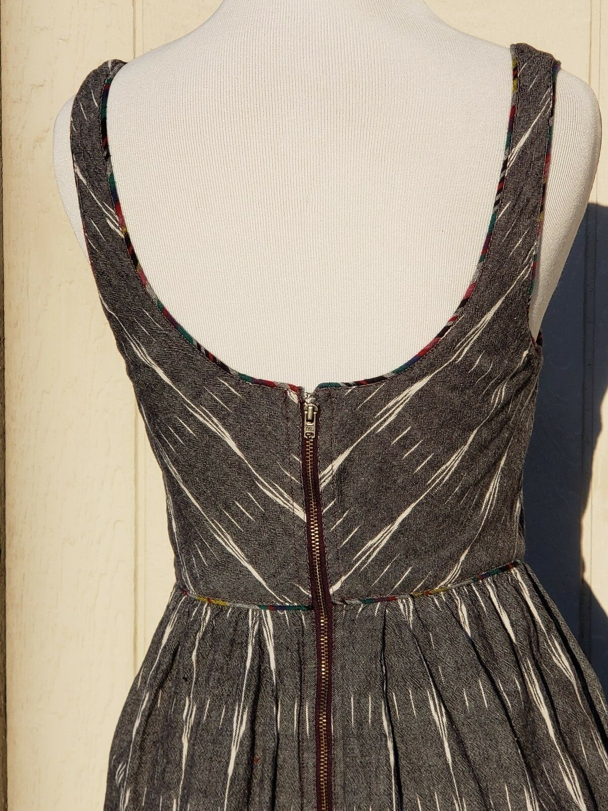 Free People Sz 4 S Sleeveless Dress Layered Embroidered Cotton Gray Tribal Ikat