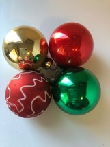 Vintage Lot of 4 Small Glass Ball Christmas Ornaments Made in USA Rauch - $12.86