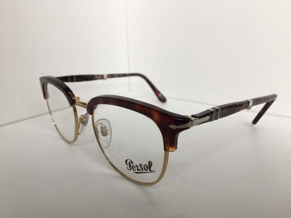 New Persol 3132-V 24 51mm Tortoise Gold Clubmaster Folding Eyeglasses Frame