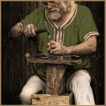 Early Medieval Viking Norseman Voyagers Trimmed Green Short Sleeve Tunic... - $57.95