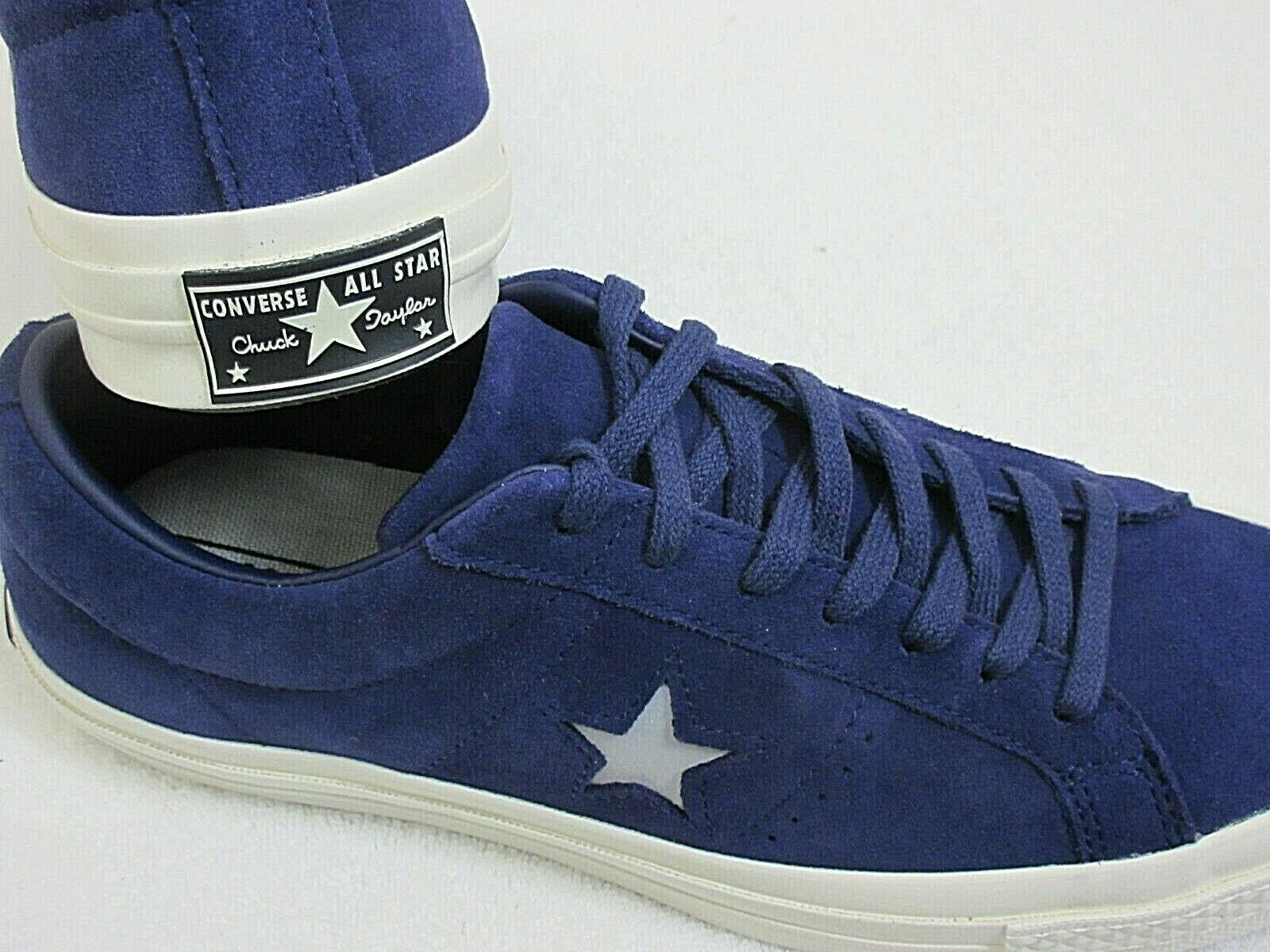 Converse One Star Ox Mens Midnight Indigo Purple Silver Suede Shoes Size 8 New  image 2