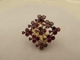 Victorian Genuine Natural Bohemian Garnet Shamrock Pin (#301) - $277.88