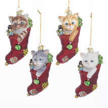 Cat w/Stocking Noble Gems Glass Ornament - $19.95